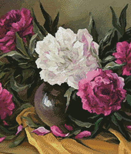 cross stitch pattern Purple Peonies (Crop)