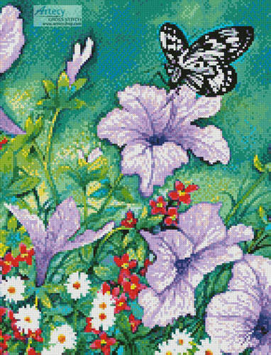 cross stitch pattern Purple Petunias (Crop)