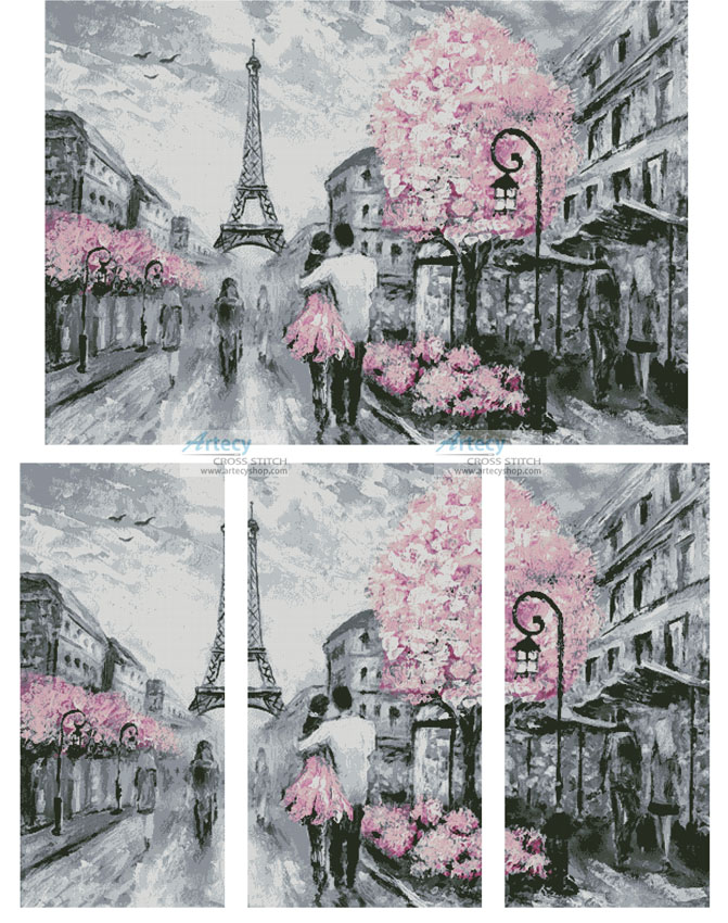 cross stitch pattern Paris Abstract (Large)