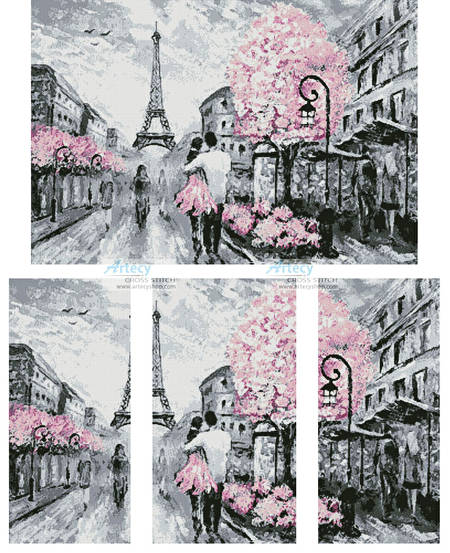 cross stitch pattern Paris Abstract