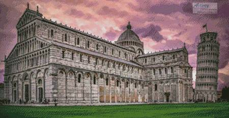 cross stitch pattern Pisa Cathedral at Sunrise
