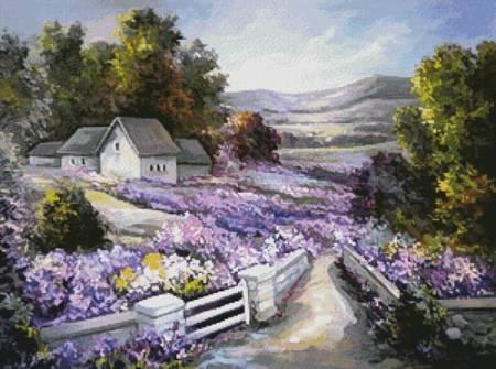 cross stitch pattern Purple Spring Landscape