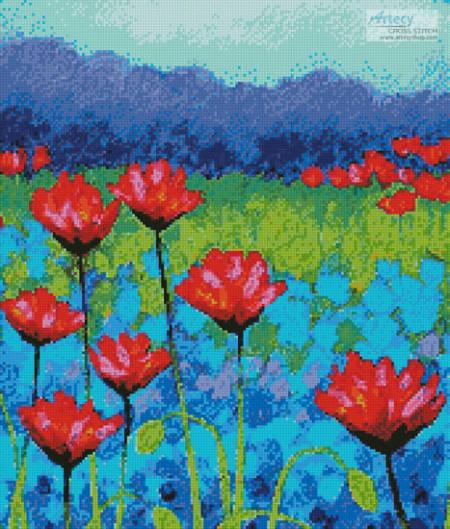 cross stitch pattern Poppy Study (Crop)