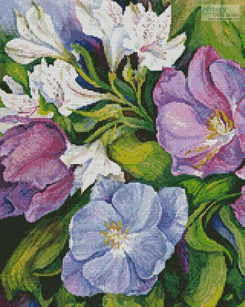 cross stitch pattern Purple Tulips  White Alstroneria (Crop)