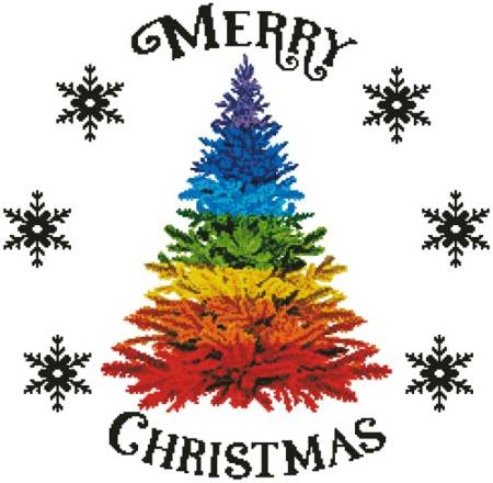 cross stitch pattern Rainbow Christmas Tree