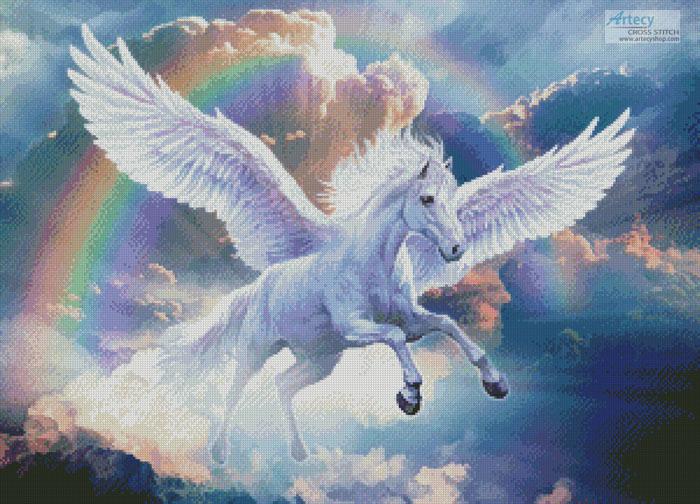 cross stitch pattern Rainbow Pegasus