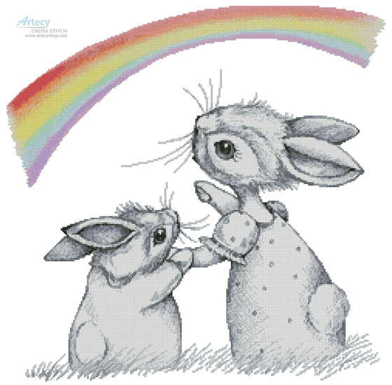 cross stitch pattern Rainbow Wishes
