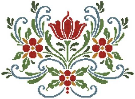 cross stitch pattern Rosemaling 5