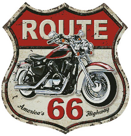 cross stitch pattern Route 66