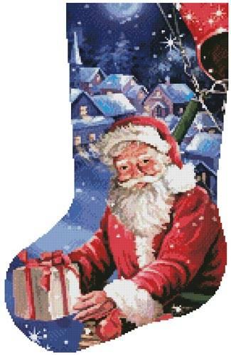 cross stitch pattern Santa in a Hot Air Balloon Stocking(Lft)