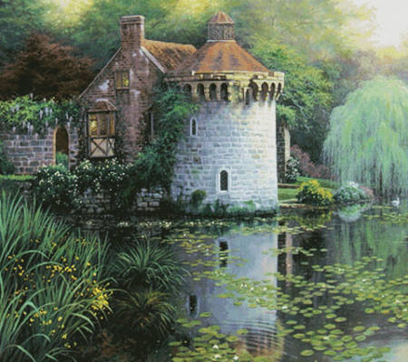 cross stitch pattern Scotney Castle Garden (Cushion)