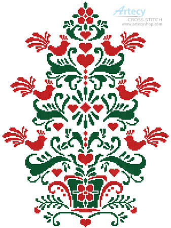 cross stitch pattern Scandinavian Christmas Tree