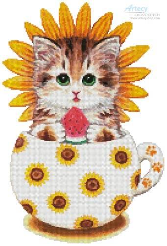 cross stitch pattern Sunflower Kitty Cup