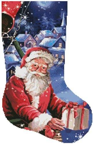 cross stitch pattern Santa in a Hot Air Balloon Stocking-Rgt