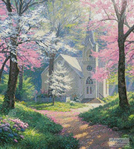 cross stitch pattern Spring Chapel (Crop)