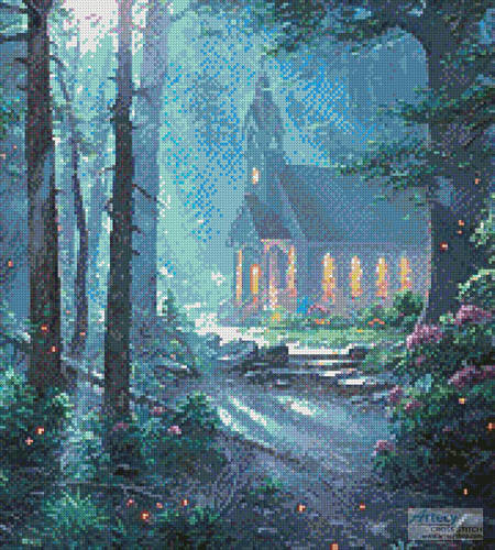 cross stitch pattern Summer Chapel (Crop)