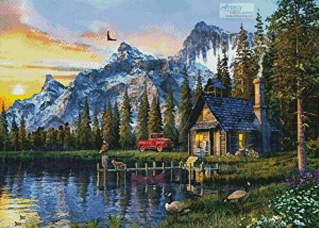 cross stitch pattern Sunset Log Cabin
