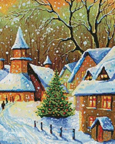 cross stitch pattern Snowy Village (Crop)