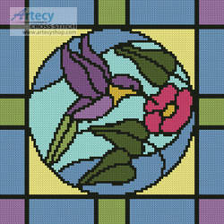 cross stitch pattern Stained Glass Square 4
