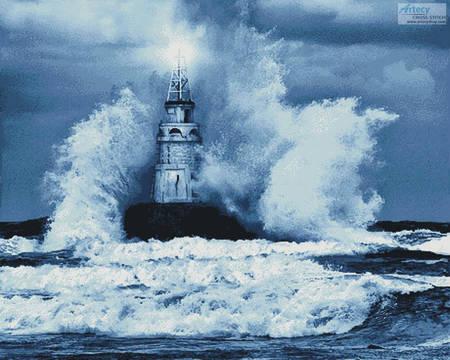 cross stitch pattern Storm and Lighthouse Blue (Large)