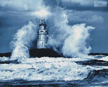 cross stitch pattern Storm and Lighthouse (Blue)