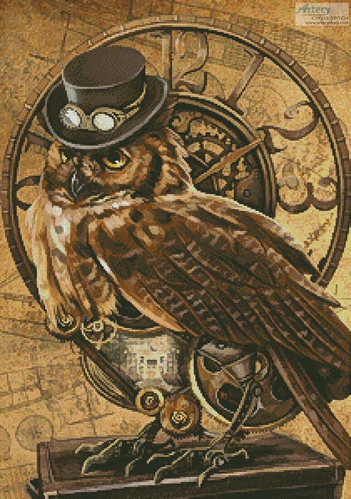 cross stitch pattern Steampunk Owl