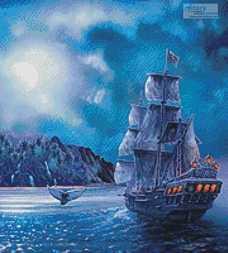 cross stitch pattern The Call of the Moon (Crop)