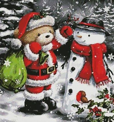 cross stitch pattern Teddy Santa with Snowman (Crop)