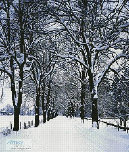 cross stitch pattern Tree Lined Road in Winter