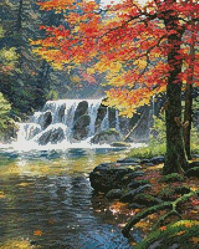 cross stitch pattern Tranquil Falls (Crop)