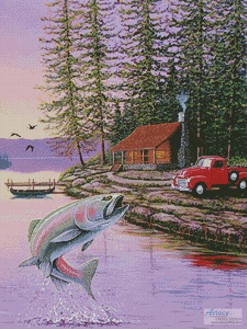 cross stitch pattern Trout Lake