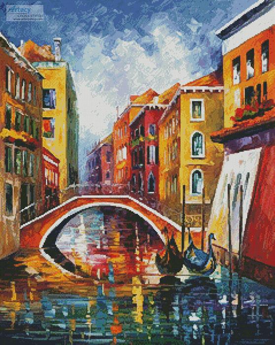 cross stitch pattern Venice Bridge