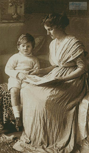 cross stitch pattern Vintage Mother and Son