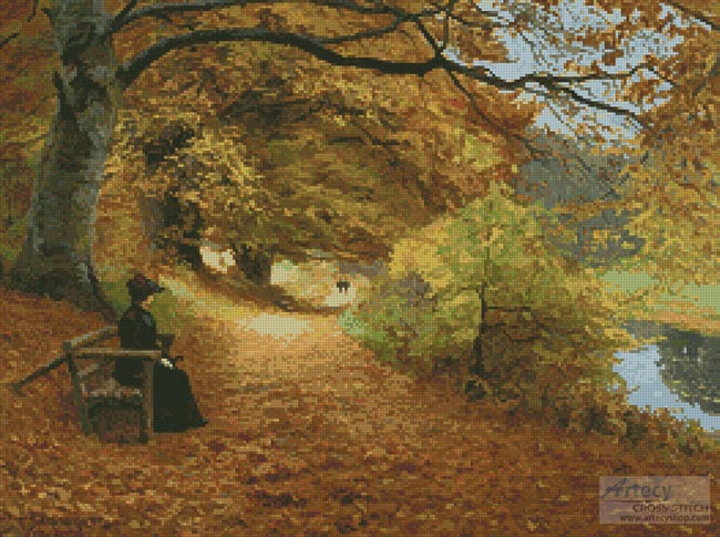cross stitch pattern A Wooded Path in Autumn