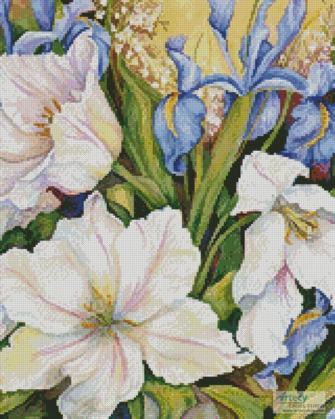 cross stitch pattern White Tulips and Blue Iris (Crop)