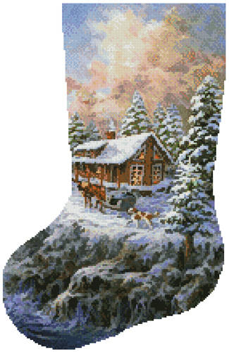 cross stitch pattern Winter Majesty Stocking (Left)
