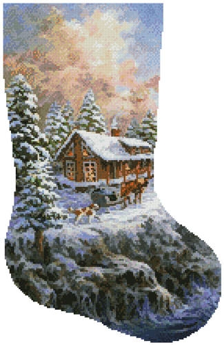 cross stitch pattern Winter Majesty Stocking (Right)