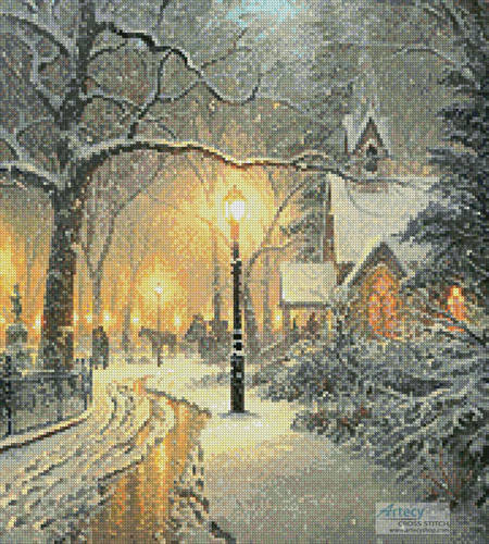 cross stitch pattern Winter Chapel (Crop)