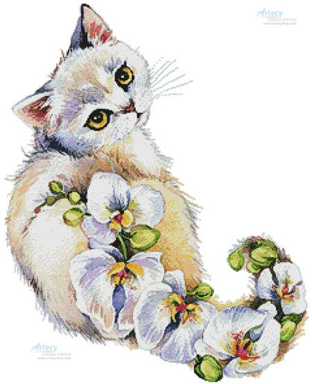 cross stitch pattern White Orchids Cat