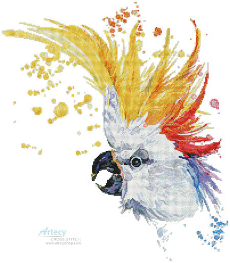 cross stitch pattern Watercolour Cockatoo