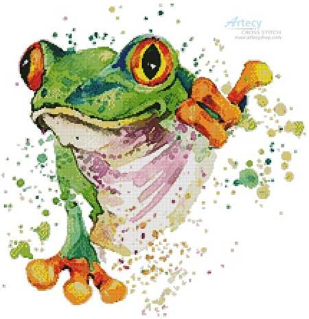cross stitch pattern Watercolour Frog