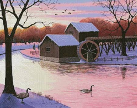 cross stitch pattern Winter at the Old Grist Mill