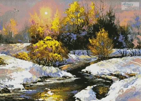 cross stitch pattern Winter Landscape Painting