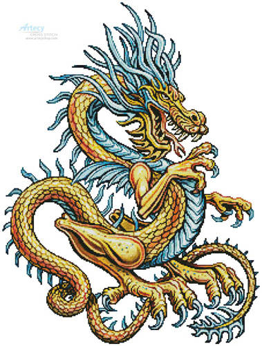 cross stitch pattern Yellow Dragon