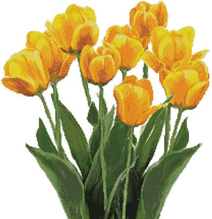 cross stitch pattern Yellow Tulips