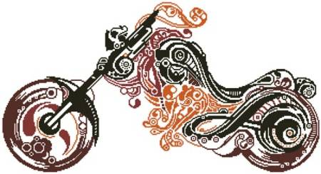 cross stitch pattern Abstract Motorbike