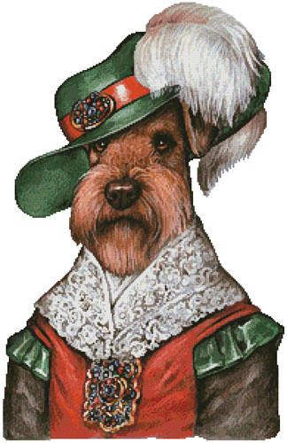 cross stitch pattern Airedale Musketeer