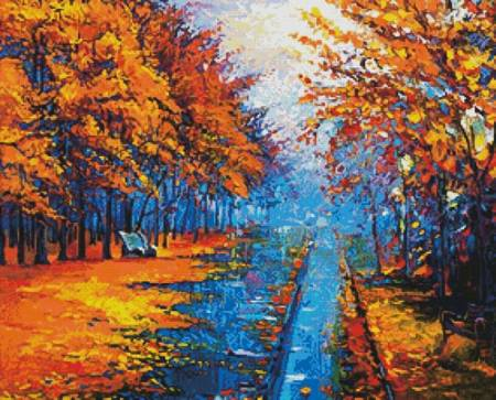 cross stitch pattern Autumn Landscape Painting
