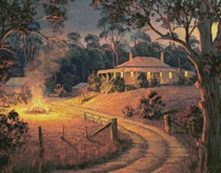 cross stitch pattern Bush Bonfire (Crop)