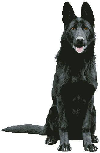cross stitch pattern Black German Shepherd